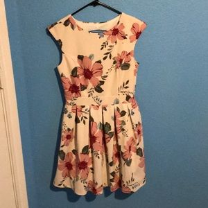 Cream colored backless flower dress